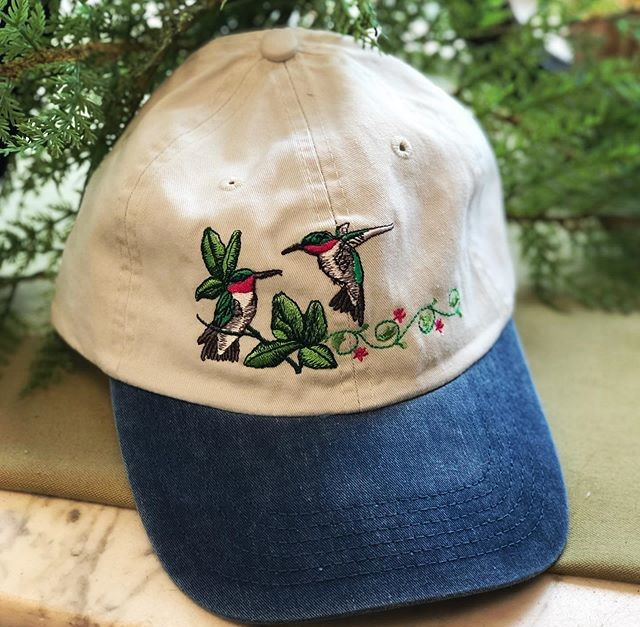 baseball cap, hummingbird, cardinal, butterfly, owl, eagle