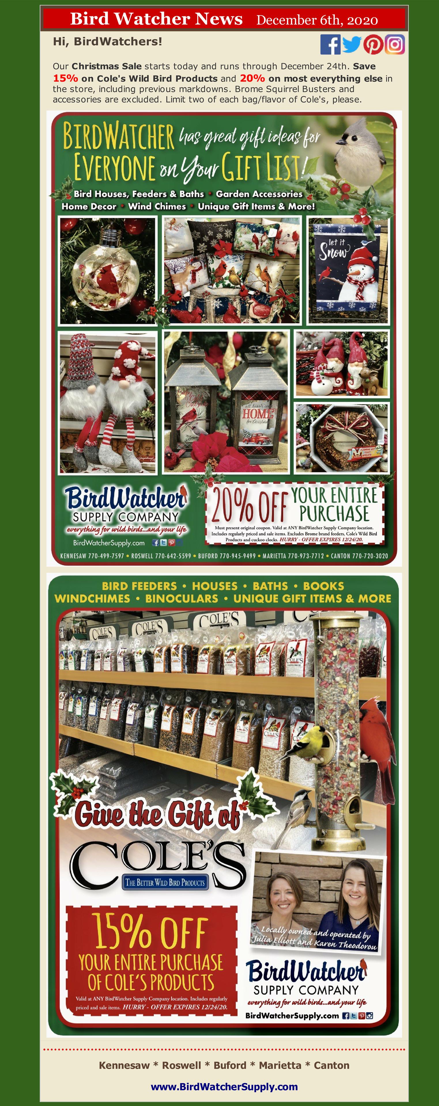 sale, christmas, ornaments, birds, feeders, gifts, holiday, birdfeeder, birdbath, ornaments,windchimes,hummingbirds,jewlery