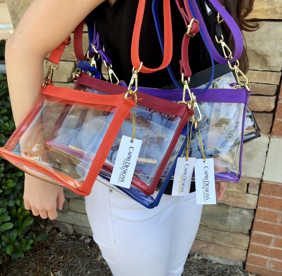clear purse, stadium bag, fashion, crossbody, football, SEC