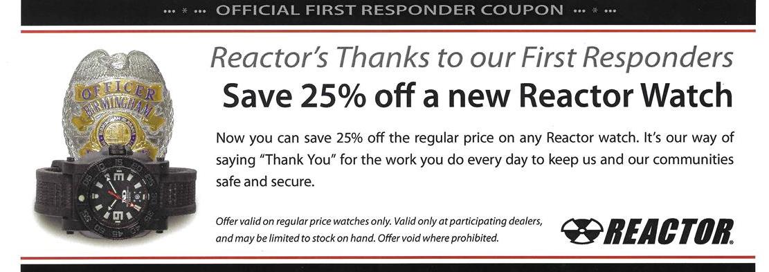 REACTOR first responder discount coupon