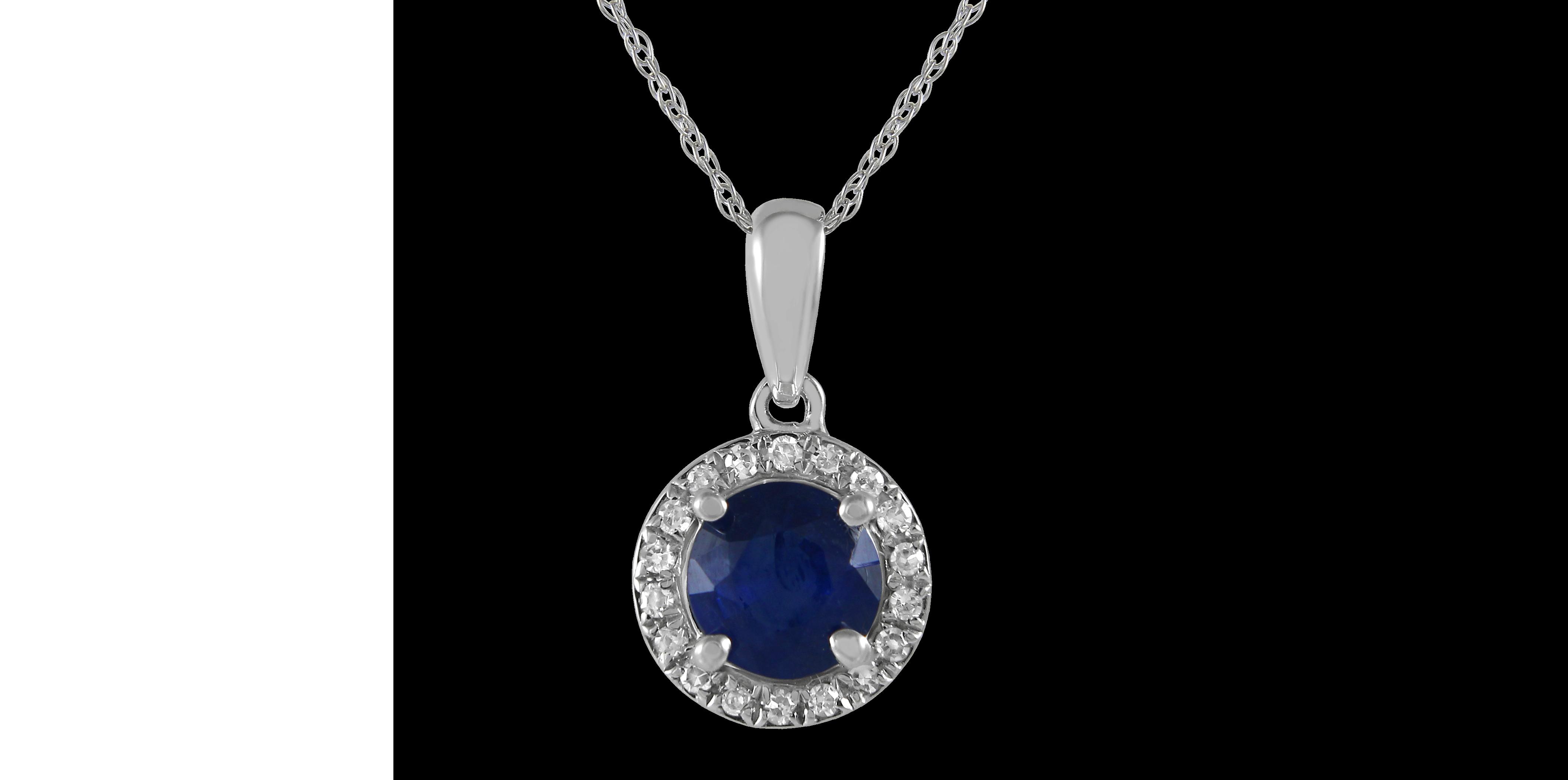 gold sapphire diamond birthstone necklace