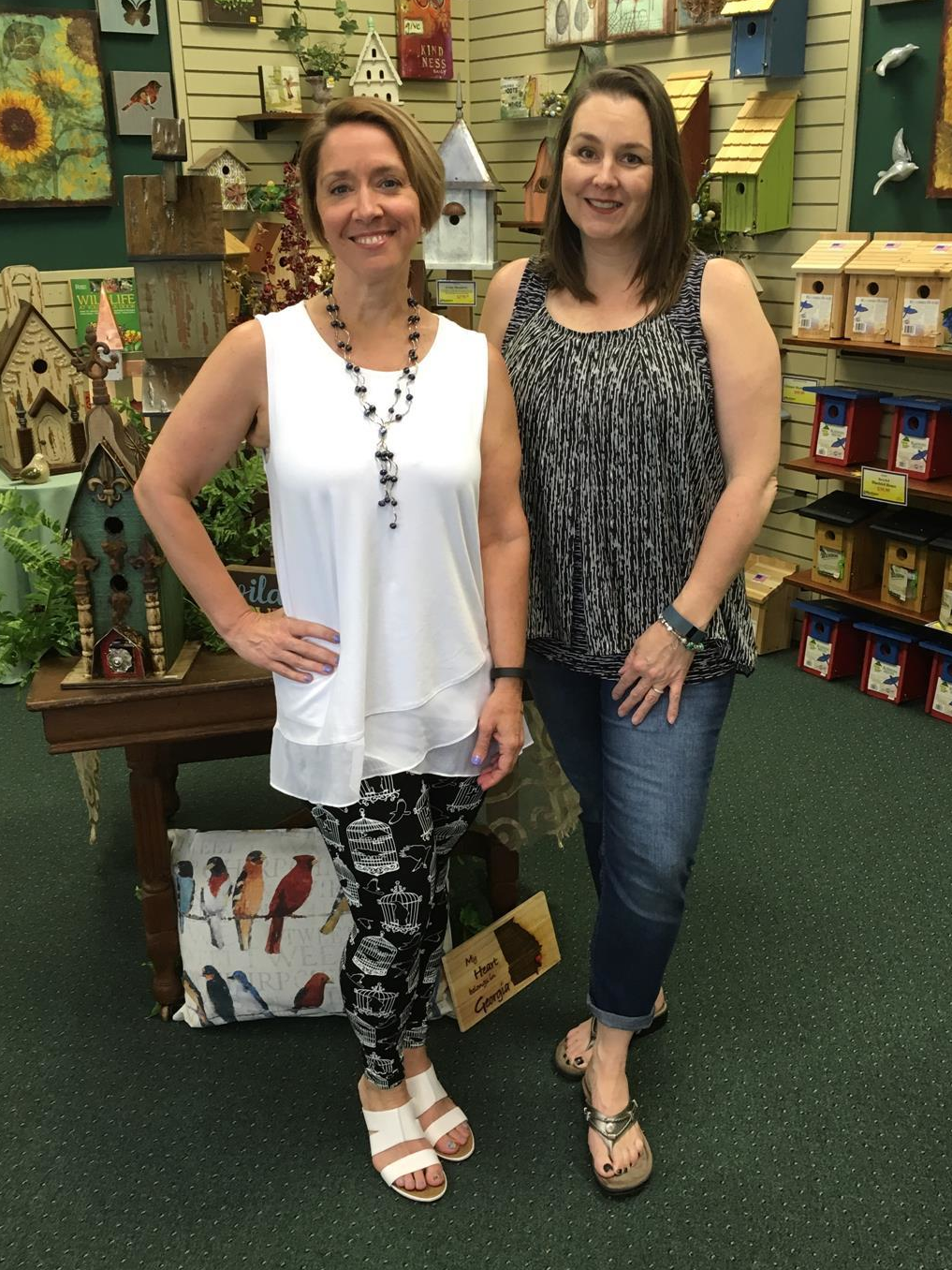 Julia Elliott and Karen Theodorou, owners of Bird Watcher Supply Company