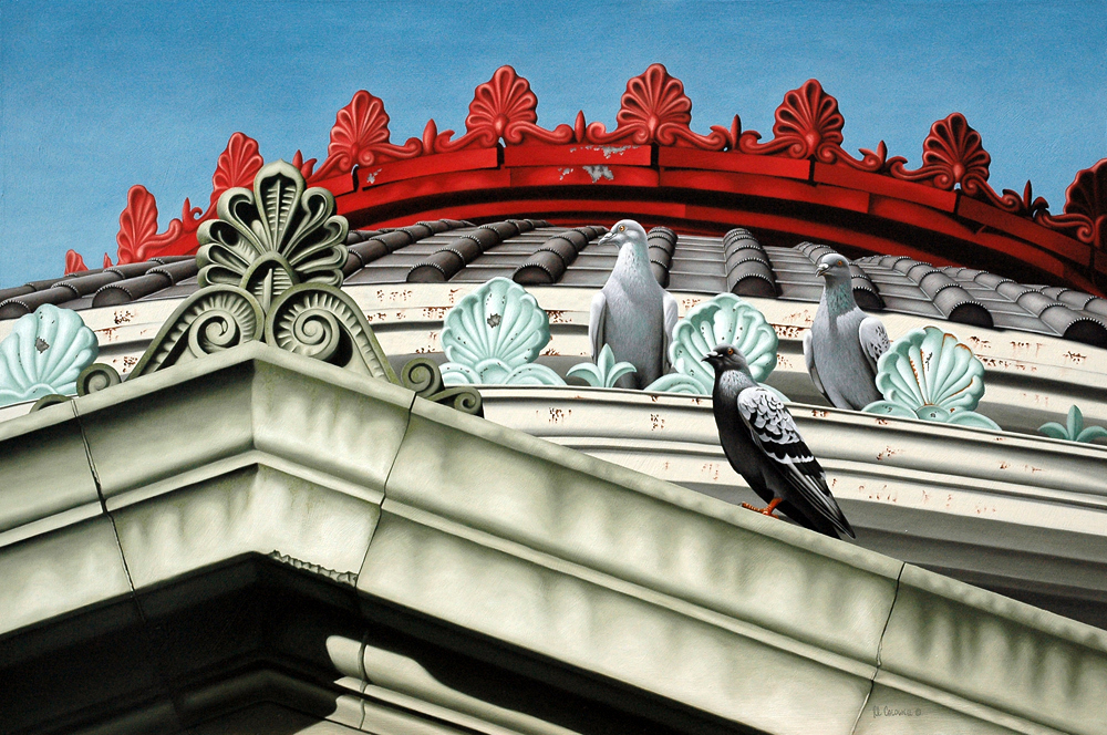 architectural  gable, rock pigeons, feathered friends, architecture, oil painting, painting on panel, rva artist, Virginia