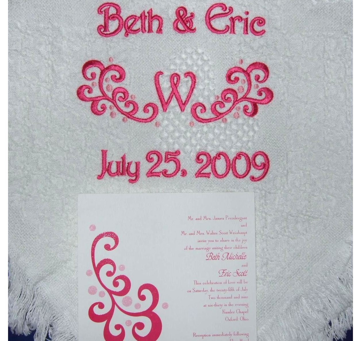 Woven heart wedding blanket with scroll and dots from wedding invitation