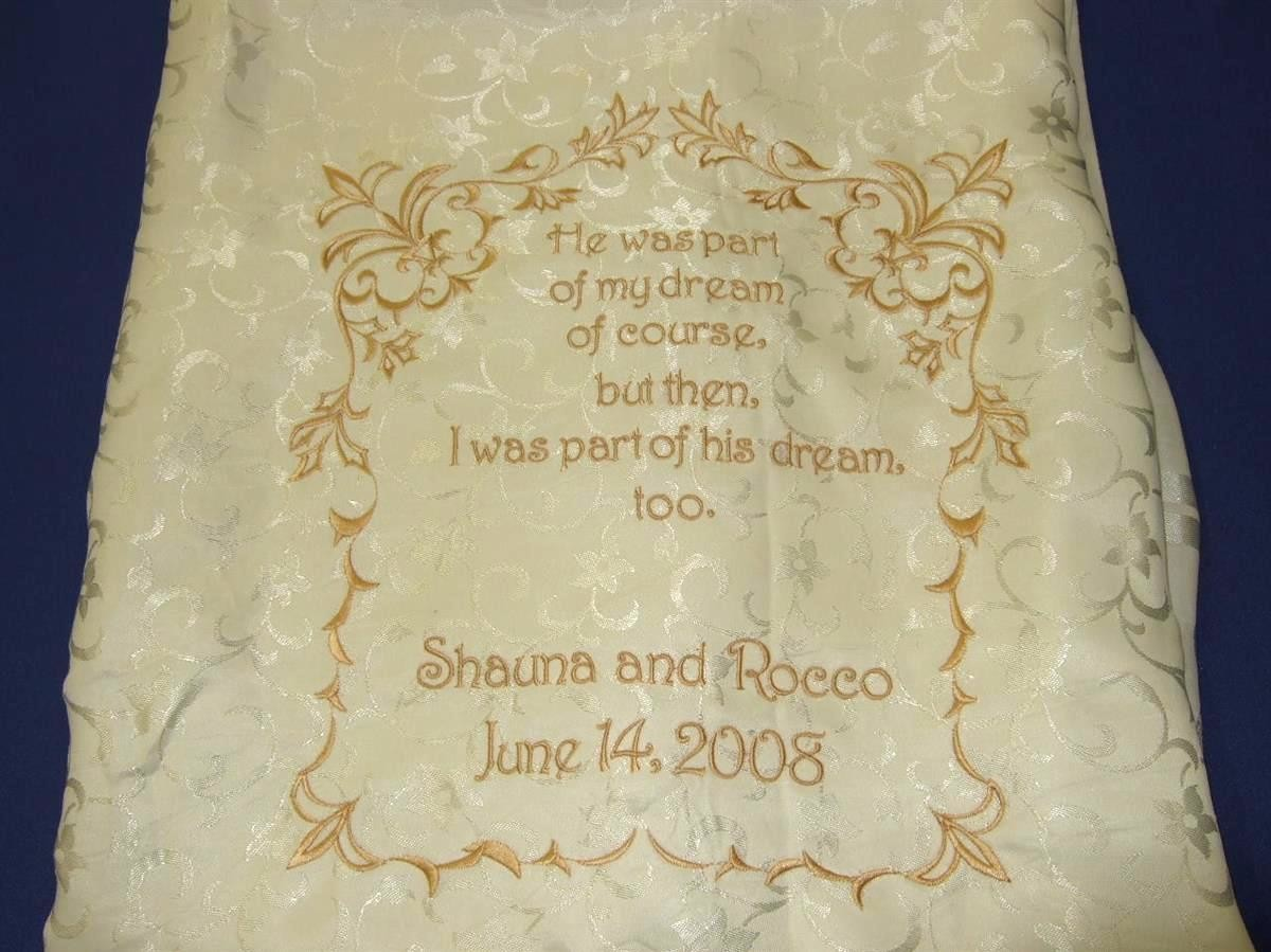 Bride's favorite poem on chair back
