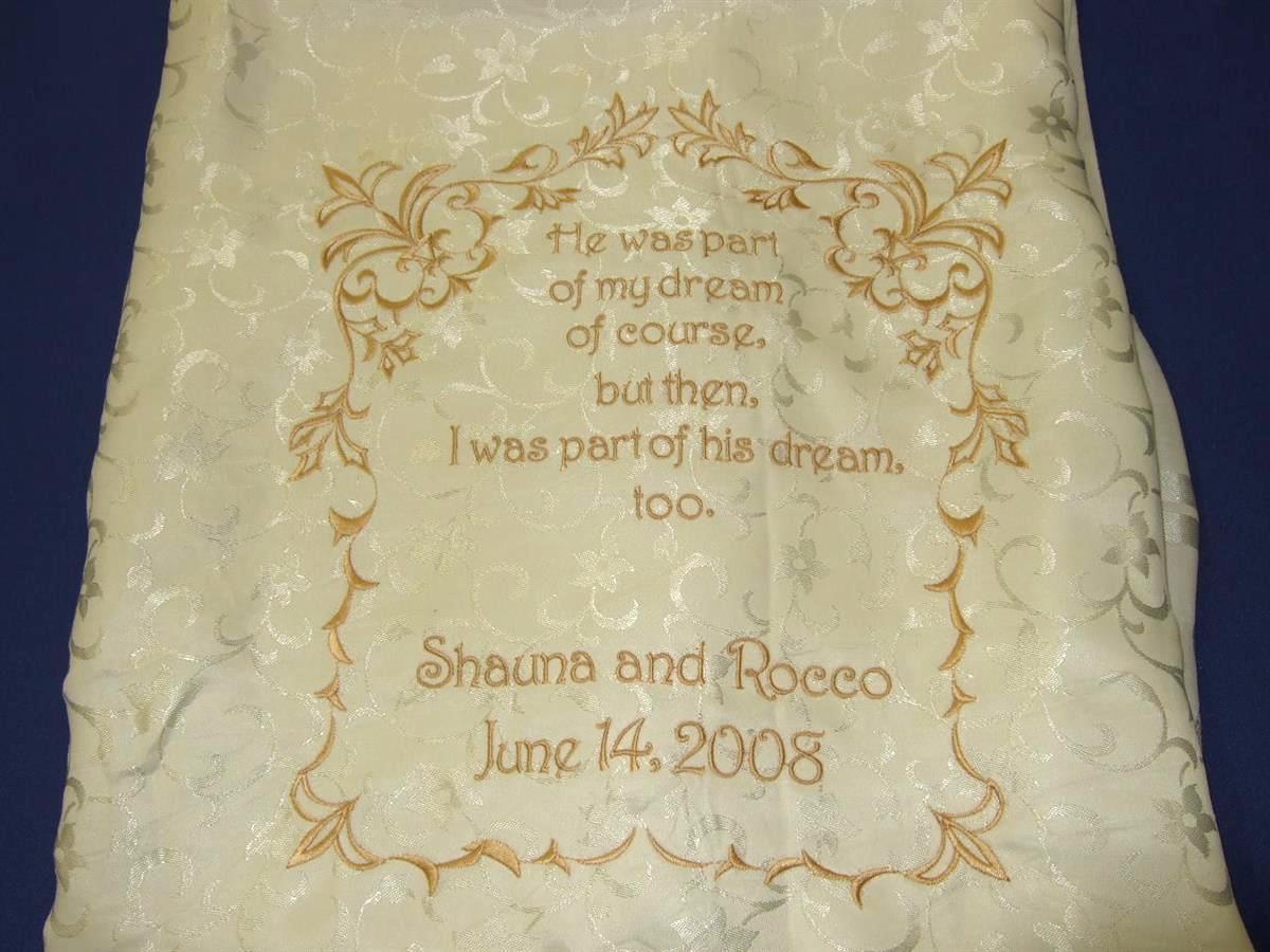 Bride's favorite poem on chair back