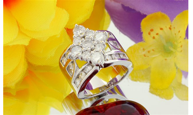 Marquise Shaped Cluster Ring