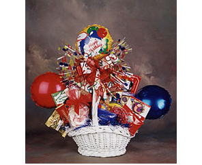Gift Basket with balloons and gourmet sweets.