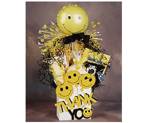 Happy to Have You as a Customer gift box filled with coffee, cookies, chocoloate, and popcorn.