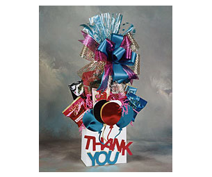 Thanks for Everything gift stuffed with gourmet cookies, chocolate and popcorn.