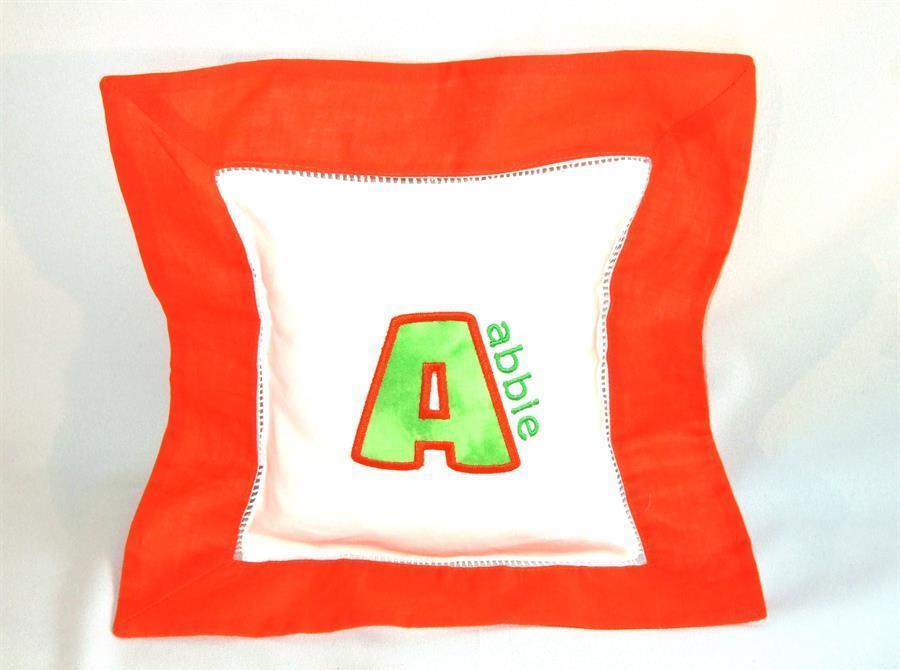 Orange border pillow with applique & name