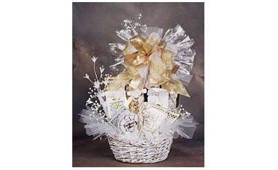 Wedding themed basket of goodies.