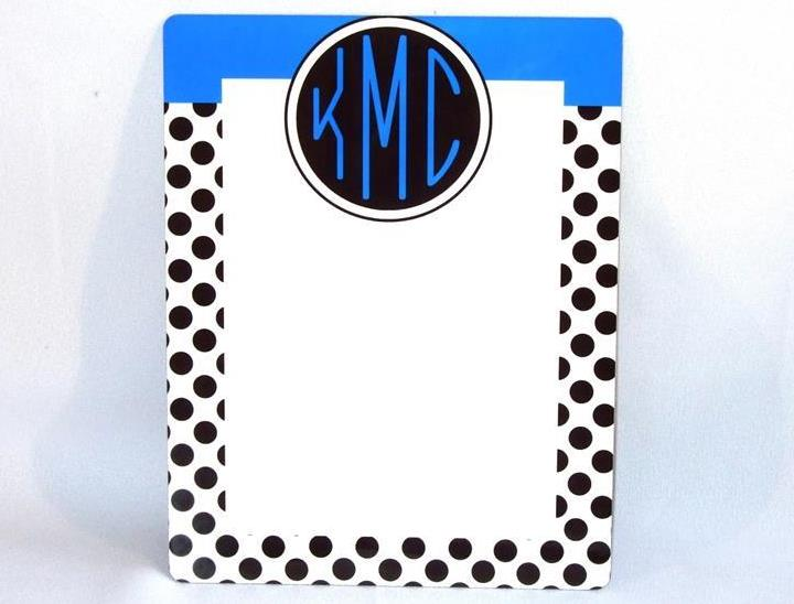 Black and white polka dot with blue accent Dry Erase board