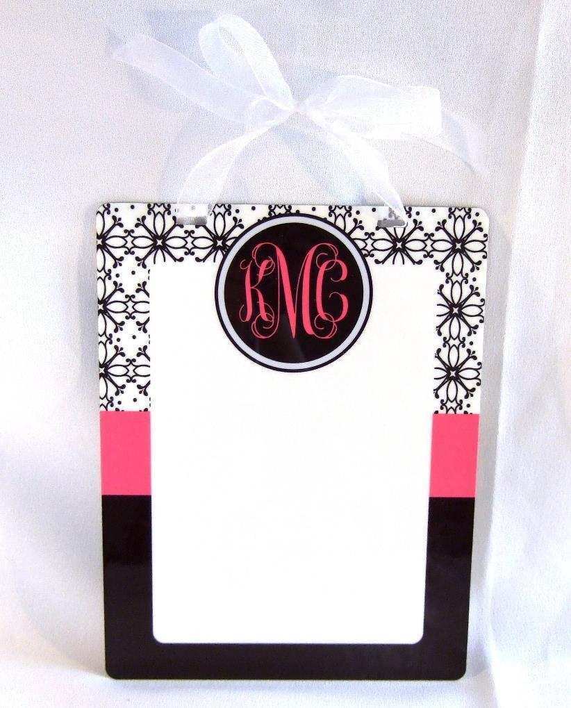 Black and white floral print with pink accent Dry Erase board