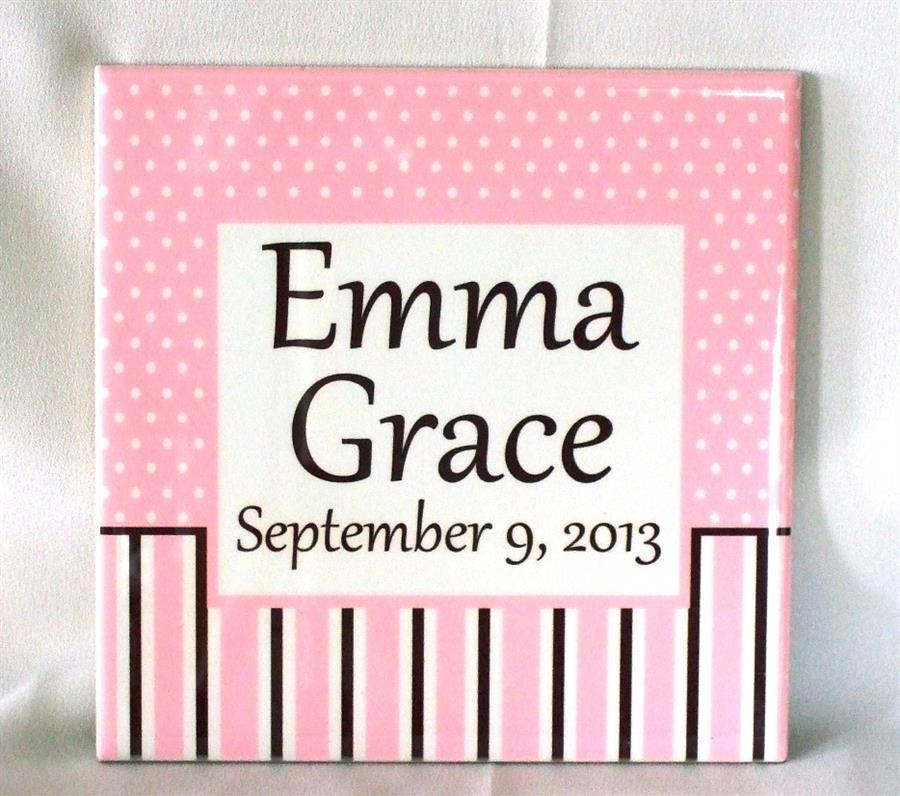 Ceramic baby girl plaque