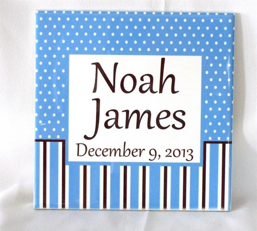 Ceramic baby boy plaque