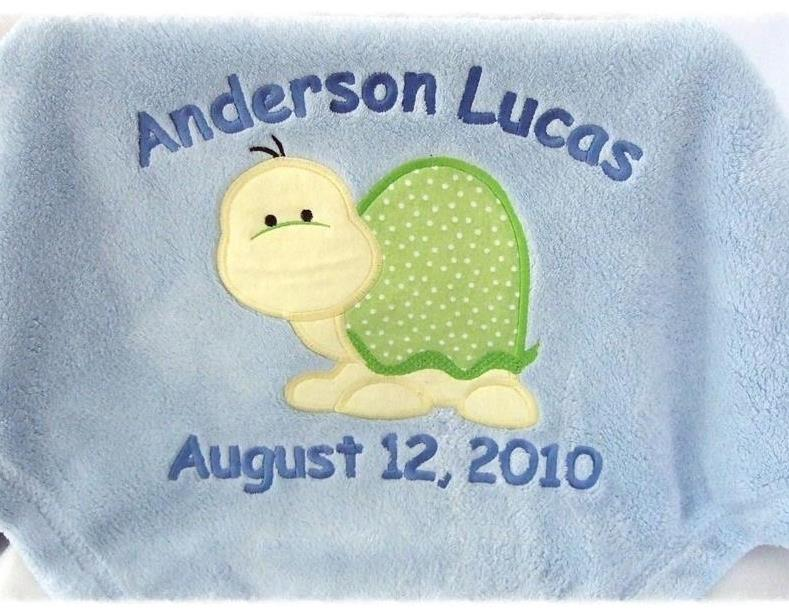 baby blanket with applique turtle