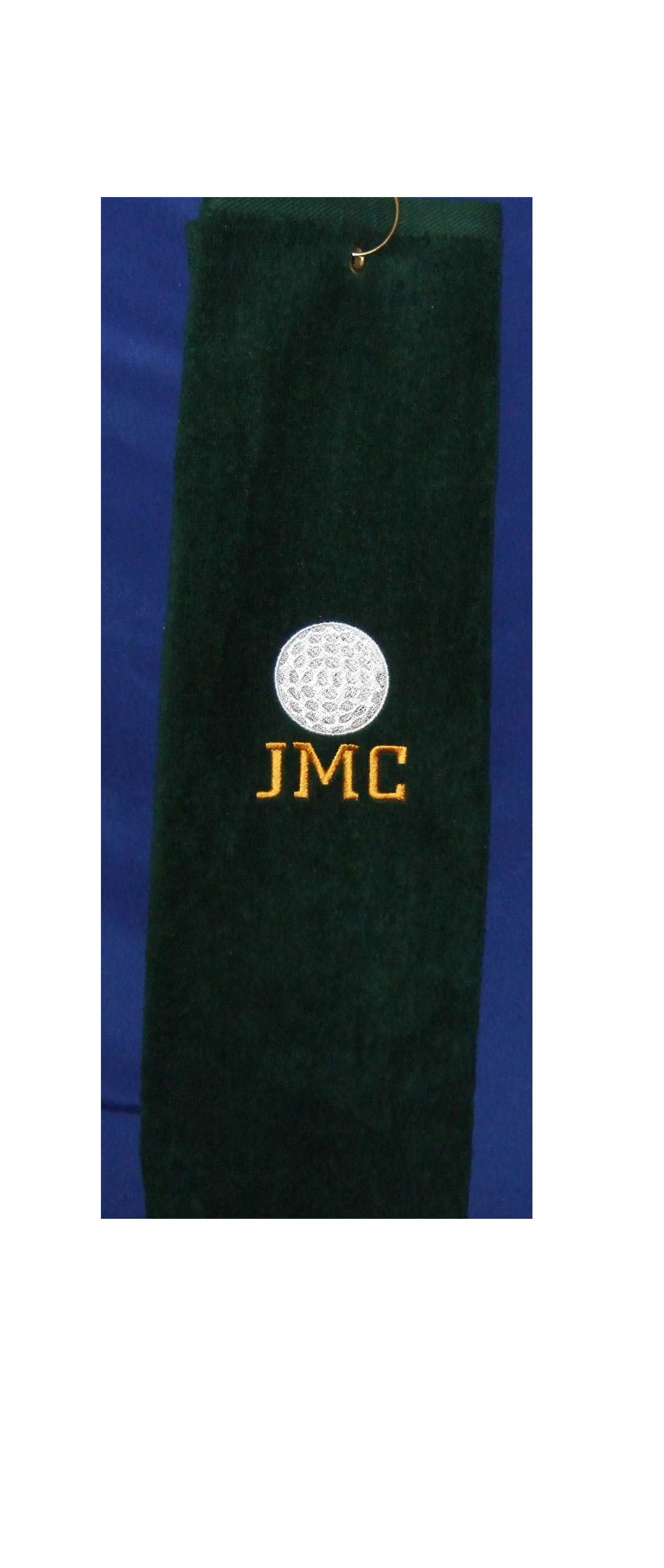 Monogrammed grommeted tri-fold golf towel