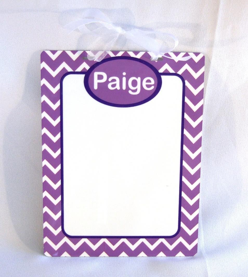 Purple and white chevron  Dry Erase board