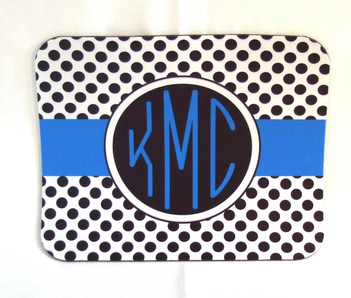 Black and white dots with blue accent mouse pad