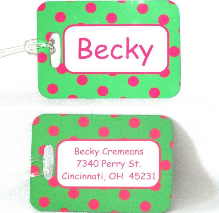 Lime with pink dots luggage tags