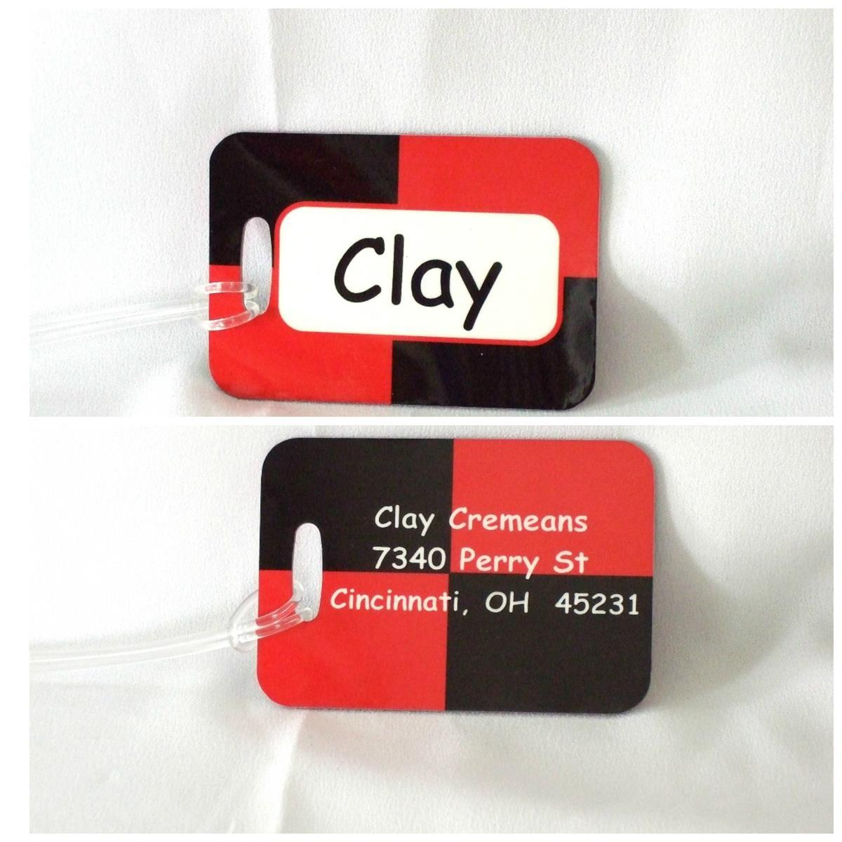 Personalized color block bag tag with name or monogram