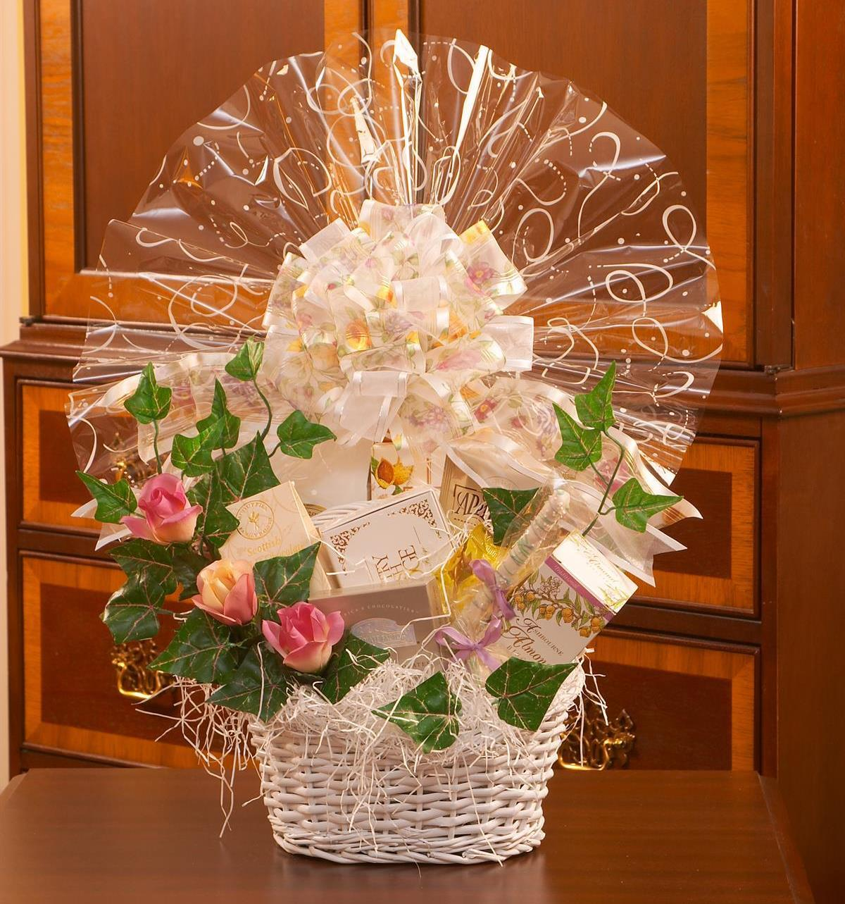 Wedding gift basket featuring delicious sweets and treats.