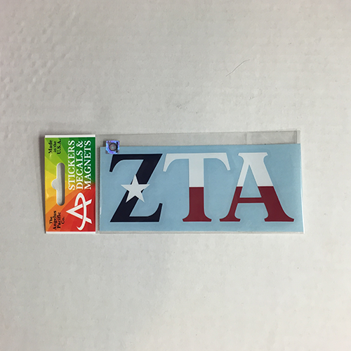 Zeta tau alpha texas flag car decal