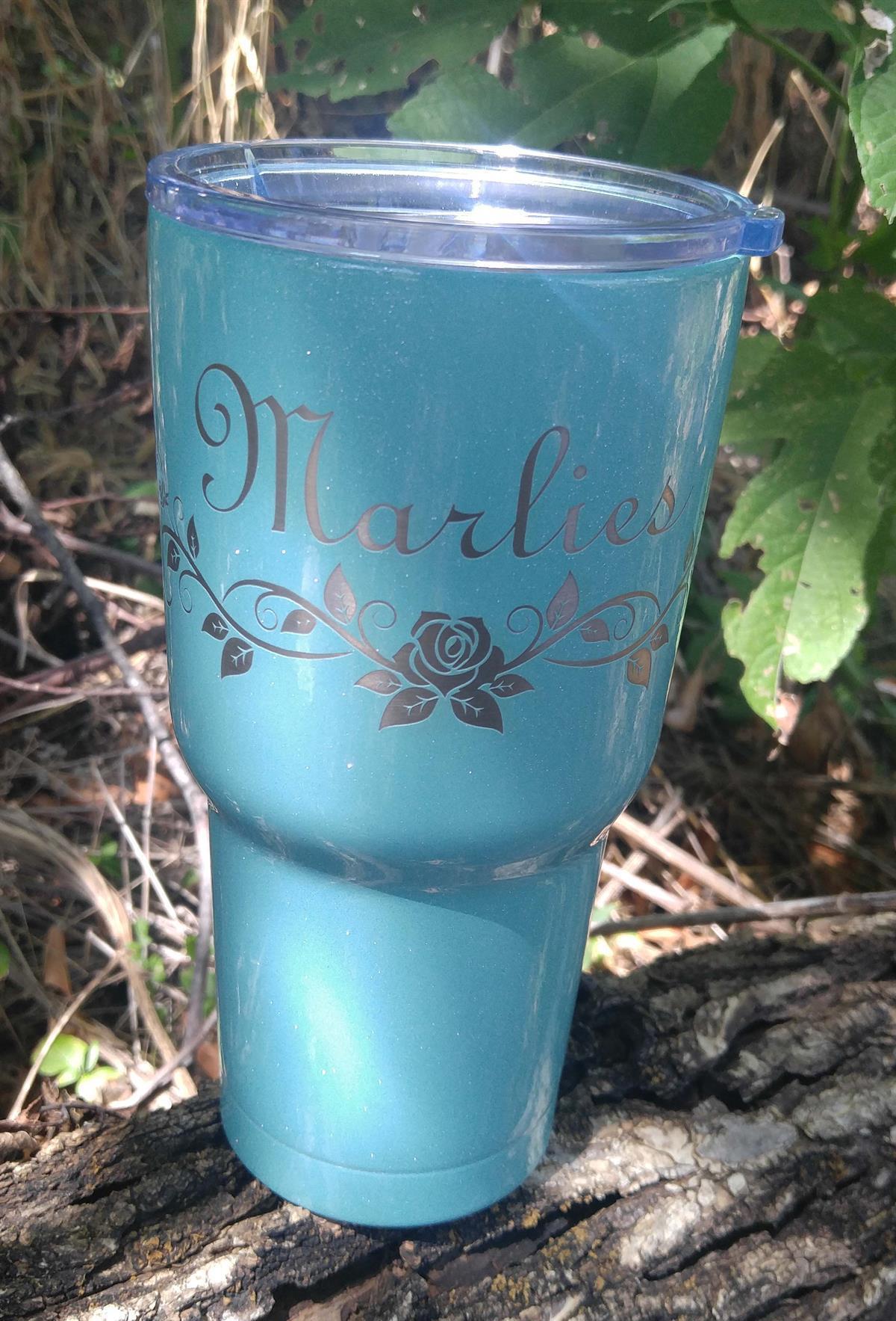 Engraved Powder Coated RTIC mug, yeti, engraved tumbler, engraving, powder coat