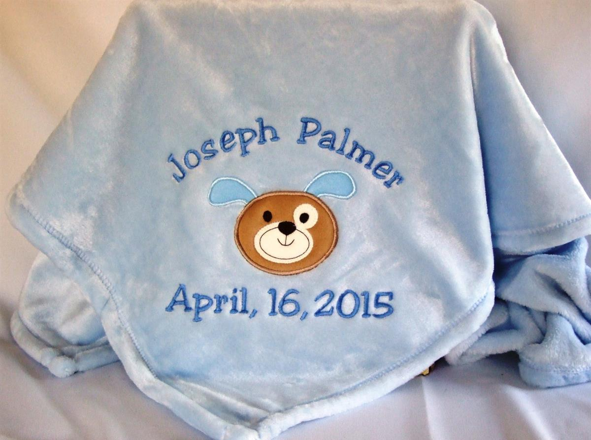 Letter perfect embroidery gifts baby blanket personalized baby blanket with puppy applique negle Image collections