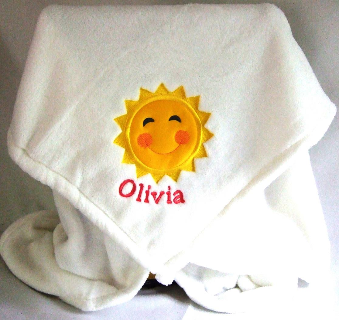 Letter perfect embroidery gifts baby blanket personalized baby blanket with sun applique negle Image collections