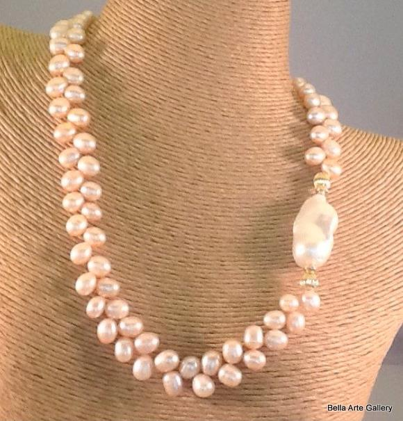 Pink Fresh water pearls, Baroque pearl, 14K gold filled, pink pearl necklace,pearl herringbone weave