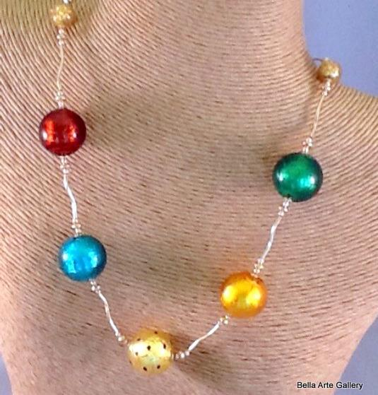Colored Murano Glass beads, 24K gold foil, murano glass necklace, colorful glass necklace, Italian gift, Italian glass beads