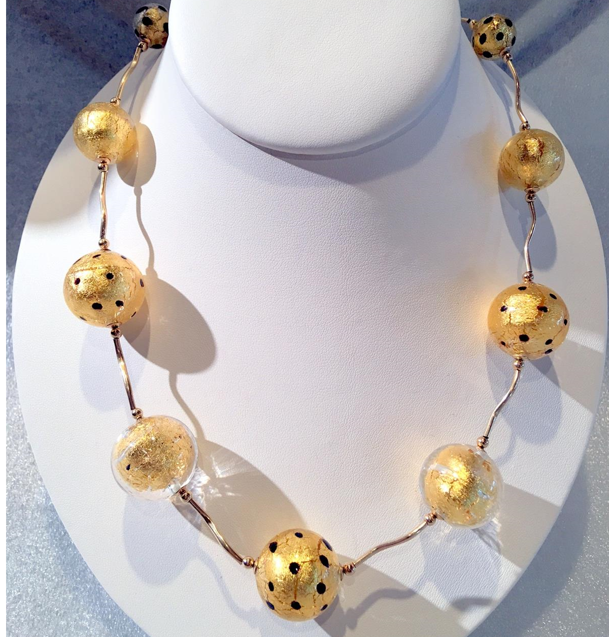 Murano glass, gold & dotted glass beads, 24K Gold foil beads, Gold Necklace