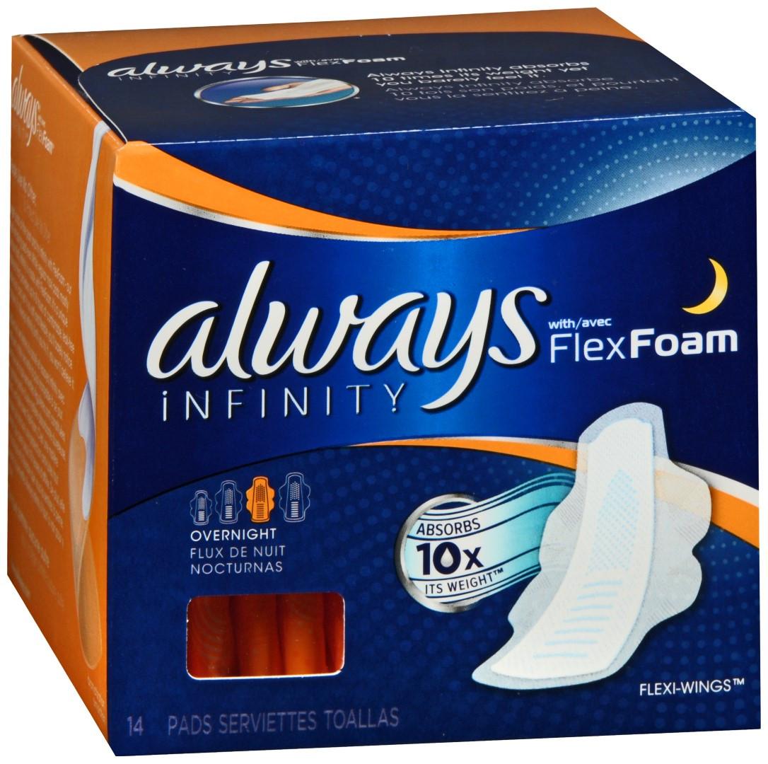 always infinity flexfoam flexi wings pads overnight asti s south