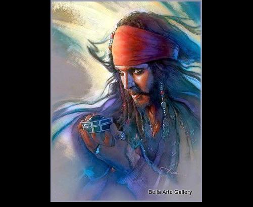 Pirates of the Caribbean, Johnny Depp, John Alvin, Disney movie art, Disney Fine Art, treasure chest, pirate art, pirate jewe