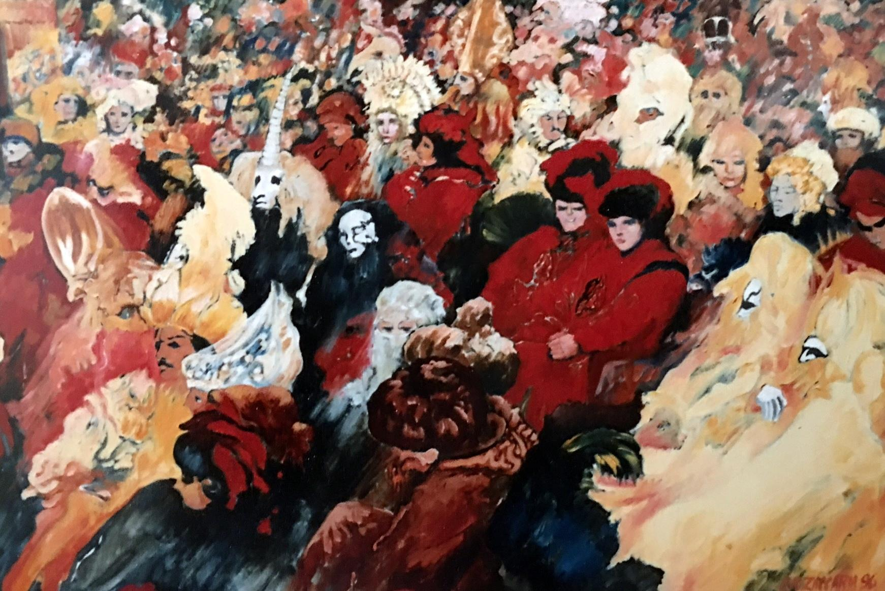 Carnival, oil painting, cosimo zaccaria artist, Venice Carnival painting,