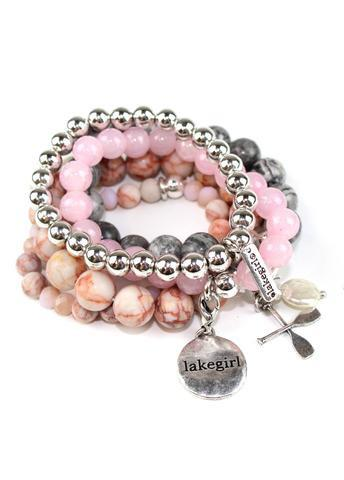 3be1c3ccd5e27 Lakegirl Natural Stone Bracelet set PINK