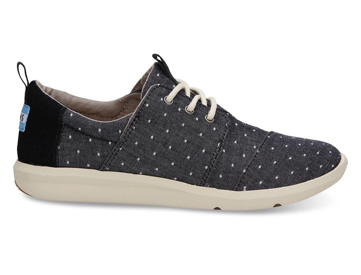 1e14e707a9b TOMS Black Dot Chambray Del Ray Sneaker - Size 6.5